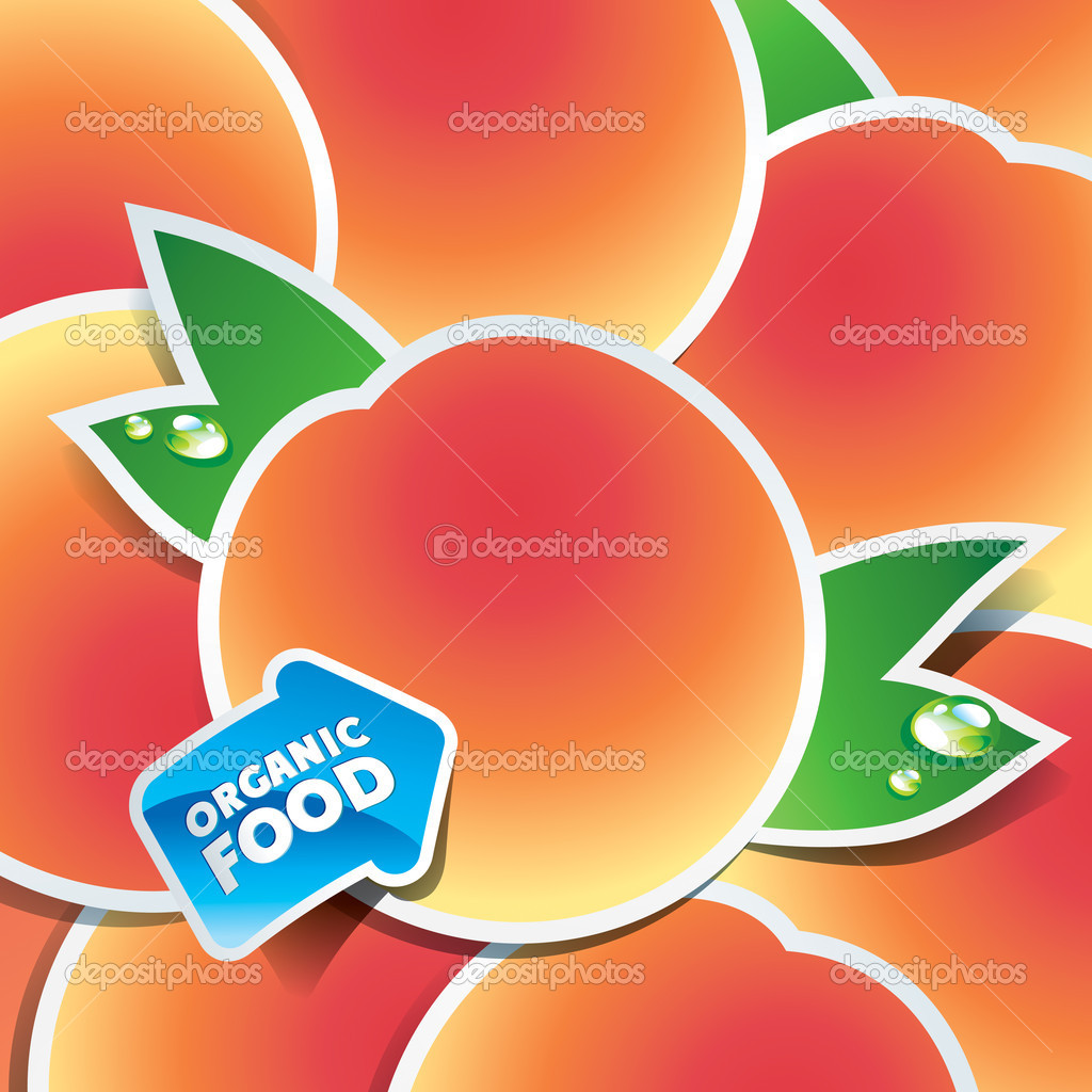 Background from apricots with an arrow by organic food. Vector illustration. — Imagen vectorial #9376556