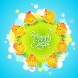 Easter card with the chickens around the meadow. Vector illustra — Imagen vectorial