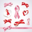 Stockvector : Set of ribbons and bows on a white background. Vector illustrati