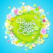 Easter card with calligraphic inscription and flowers. Vector il — Imagen vectorial