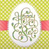 Vintage Easter card with calligraphic inscription and lacy paper — Stockvector
