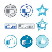 Set of thumb up and thumb down hand with word like or dislike on — Vector de stock