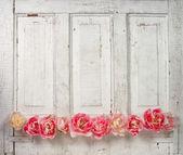 Flowers on a paneled vintage door — Stock Photo