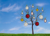 Clocks hanging from a tree — Stock Photo
