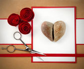 Rock, paper and scissors valentine — Stock Photo
