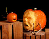 Halloween Jack-o-lantern pumpkin carving very detailed — Stock Photo