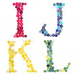 The letters I, J, K and L made of photographed buttons — Stock Photo
