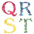 The letters Q, R, S, T made of photographed buttons — Stock Photo