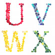 The letters U, V, W, and X made of photographed buttons — Stock Photo #9120060