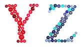 字母 y 和 z 制成的拍照按钮 — 图库照片