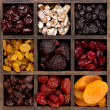Assorted dried fruit in a printers box — Stock Photo #9198684