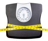 Un pèse-personne avec un ruban à mesurer — Photo
