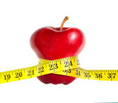 A skinny apple with a measuring tape — Stock Photo