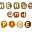 Assorted herbs and spices spelling the words — Stock Photo #9541001