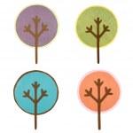 een collectie van ronde uitgesneden bomen — Stockfoto