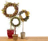 три декоративных фигурные стрижки кустов на доску — Стоковое фото