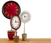 Clocks on a topiary — Stock Photo