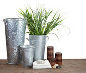Spa still life with decorative containers, candles and pumice st — Stock Photo