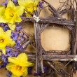 Twig frame with daffodil and hyacinth — Stock Photo