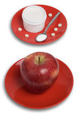 Dishes with apple and pills — Stock Photo