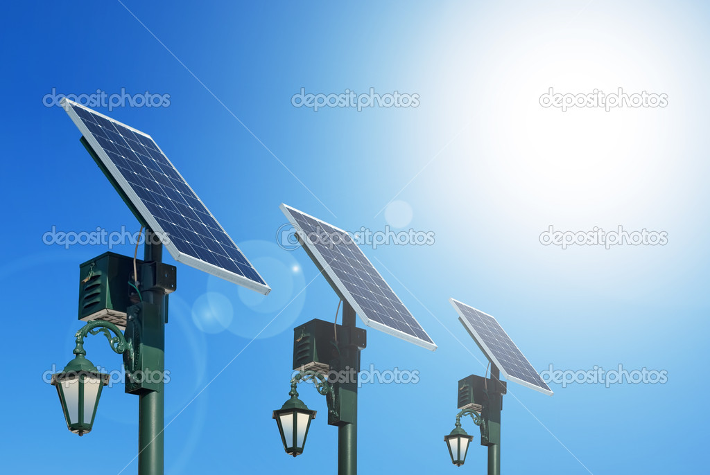 Solar photovoltaic powered lamp posts on the blue skies with sun — Stock Photo #8627845