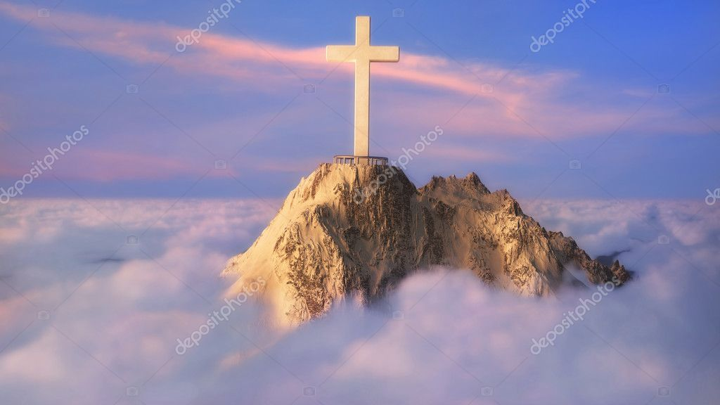 Cross on top of a mountain above the clouds  Stock Photo #10139184