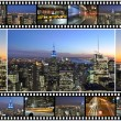 New York City themed montage and collage featuring different famous locations and areas of The Big Apple the night - Stock Photo