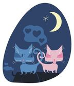 Romantic Cats — Stock Vector