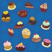 Seamless Desserts Pattern — Stock Vector