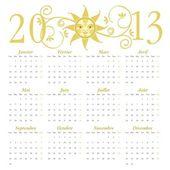 French calendar for 2013 — Stock Vector