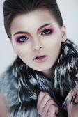 Bright chick female closeup portrait - studio shot — Stock Photo
