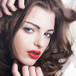 Stock Photo: Cute luxurious young female - chic lips and eyes
