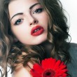 Sensuality - beauty bright girl with festive flower — Stock Photo