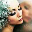 Glamorous fashion hairstyle model reflects in mirror - bright makeup — Stock Photo