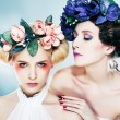 Two sensual nymphs in colorful wreaths closeup portrait — Stock Photo