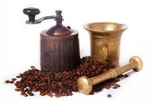 Ancient coffee grinder, mill and brass mortar — Stock Photo