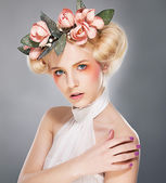 Stylish pretty supermodel lovely blonde in crown of flowers — Stock Photo