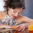 Beautiful woman with citrus. Studio shot, series of photos — Stock Photo