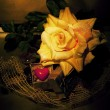Retro still life - flower and symbol of red heart — Foto de Stock