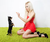Pretty woman blond with her friend - small black dog — Stock Photo