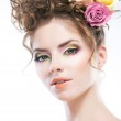Hairstyle - beautiful sexy female art portrait with roses in her head — Stock Photo