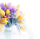 Beauty border frame - art colorful flowers background — Stock Photo