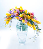 Fresh festive bouquet of flowers in glass vase — Foto de Stock