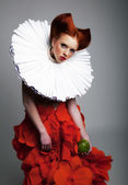 Theatre - pretty redhaired girl in jabot posing — Stock Photo