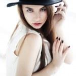 Vintage - lovely girl in black hat closeup portrait — Stock Photo