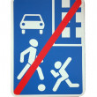 European caution traffic sign   , cancellation of pedestrian priority after — Stock Photo