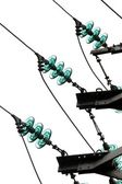 Close-up of wires of electricity pylon — Stock Photo