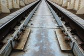 Perspective , sleepers and rails railroad — Foto de Stock