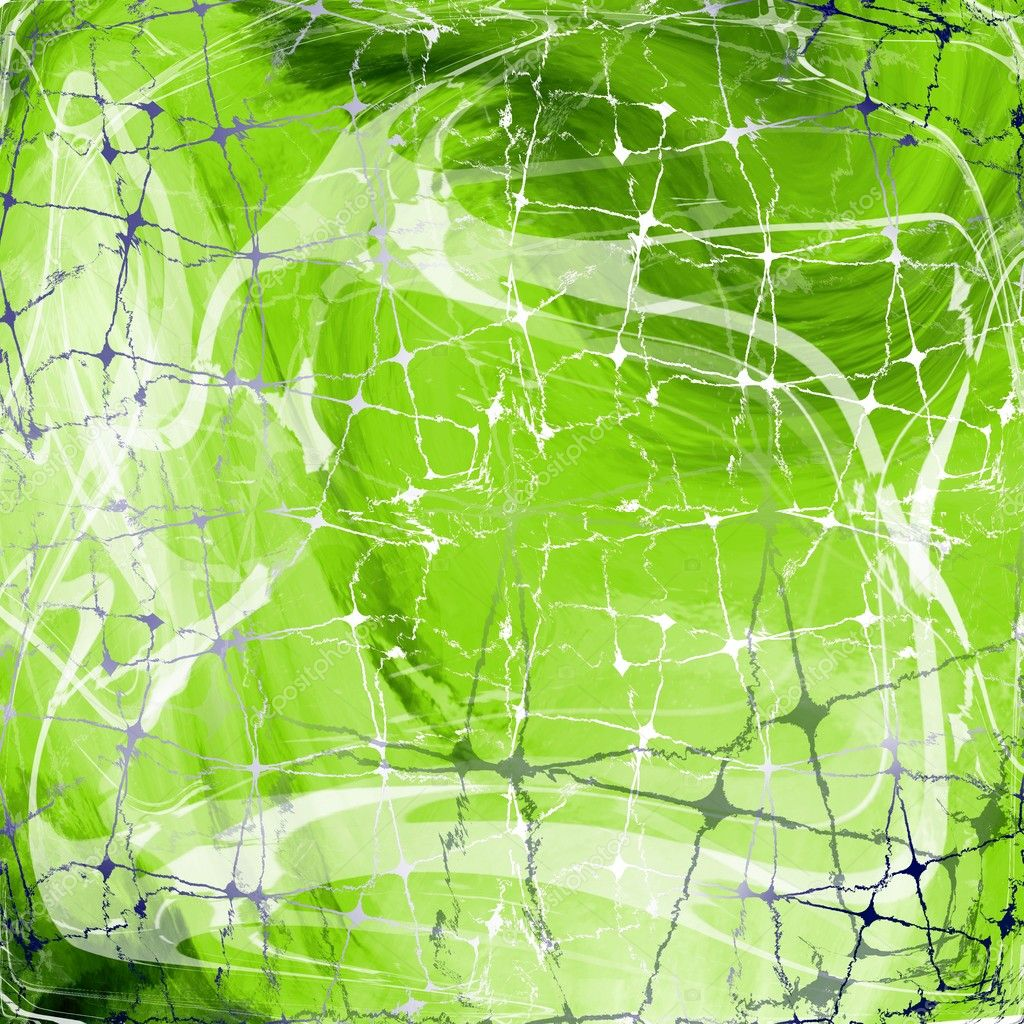 Green texture of sophisticated lines and spider like nets ; illustration /  digital design  Stock Photo #8652729