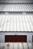 Striped metal garage roof ; abstract industrial background — Stock Photo